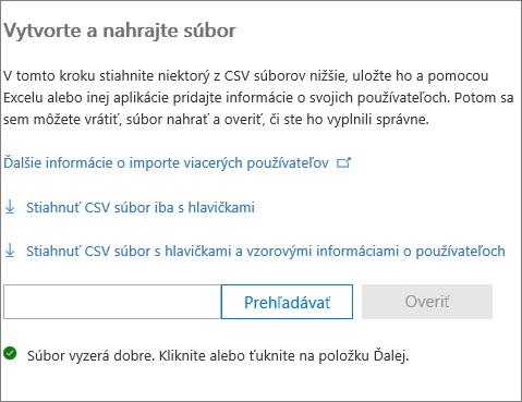 Váš súbor CSV je overený