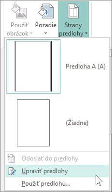 Snímka obrazovky s možnosťou Upraviť predlohy v rozbaľovacej ponuke v Publisheri.