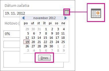 Výber dátumu so zvýrazneným tlačidlom Dnes.
