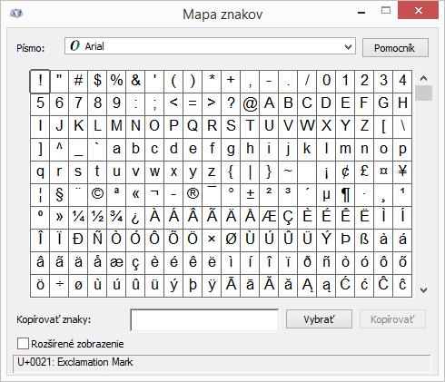 Program Mapa znakov určený pre Windows