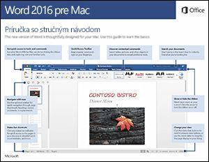 Príručka so stručným návodom pre Word 2016 pre Mac