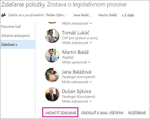 Snímka obrazovky s postupom na ukončenie zdieľania so všetkými