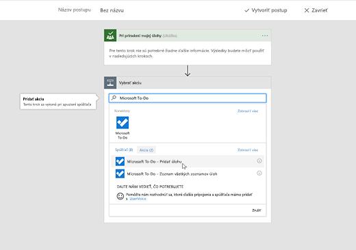 Snímka obrazovky zobrazujúca vybratú možnosť Microsoft To-Do
