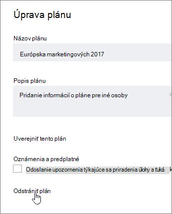 Z upraviť plán, kliknite na položku Delete plánu