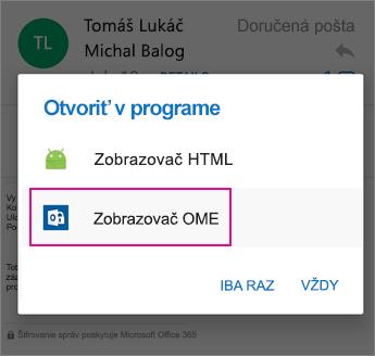 Zobrazovač OME s programom Outlook pre Android 2