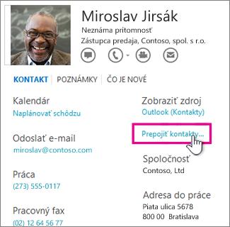 Tlačidlo Prepojiť kontakty na karte kontaktu