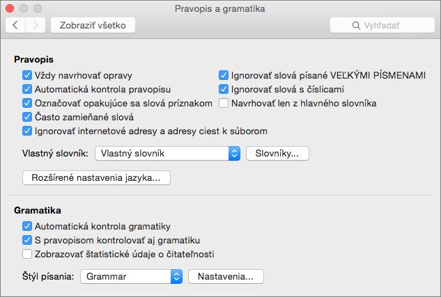 Zmenia sa nastavenia, ktoré majú vplyv na kontrolu pravopisu agramatiky vdialógovom okne Pravopis agramatika.