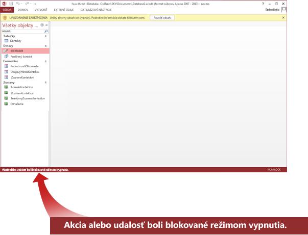 Stavový riadok zobrazuje hlásenie o zablokovanom obsahu