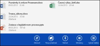 Panel sakciami aplikácie OneDrive for Business
