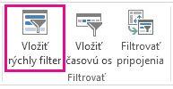 Vložiť tlačidlo Rýchly filter na kartu Analyzovať