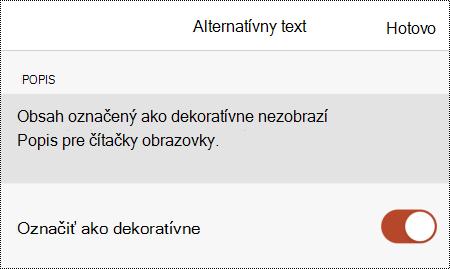Vybratá možnosť Označiť ako dekoratívne v dialógovom okne Alternatívny text v PowerPointe pre iOS.