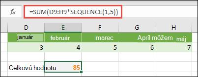 Použite konštanty poľa vo vzorcoch. V tomto príklade sme použili = SUM (D9: H (* SEKVENCIa (1; 5))
