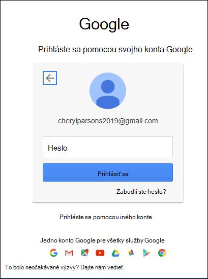 Zadajte svoje heslo v službe Gmail.