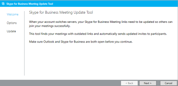 Snímka obrazovky uvítacej stránky nástroja na aktualizáciu schôdze