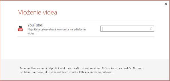 Toto je dialógové okno Vloženie online videa v PowerPointe 2013.
