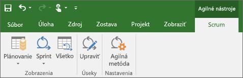 Snímka obrazovky s pásom s nástrojmi Projectu zobrazujúca kartu Agilné nástroje