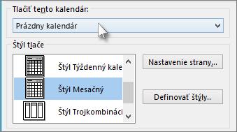 Vyberte názov kalendára, ktorý chcete vytlačiť
