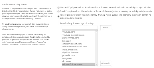 Povoliť rámce iFrame z tejto domény