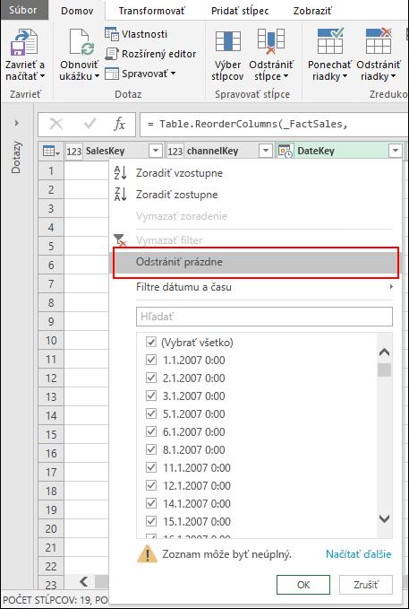 Power Query – odstránenie prázdnych riadkov prostredníctvom ponuky Filter stĺpca