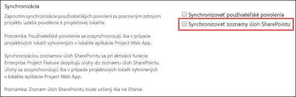 Synchronizácia zoznamov úloh SharePointu