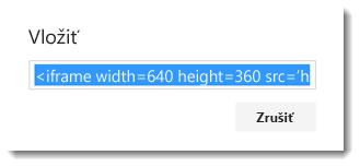 Vložiť kód pre video služieb Office 365