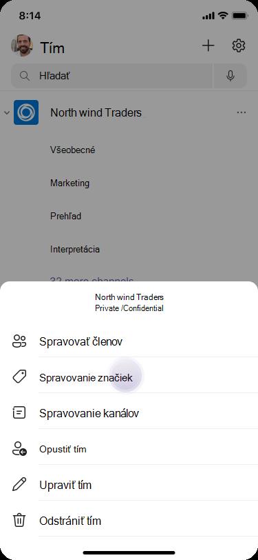 Spravovanie značiek v Teams pomocou systému iOS
