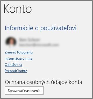 Panel Konto zobrazujúci tlačidlo Ochrana osobných údajov konta, Spravovať nastavenia