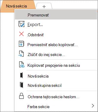 Snímka obrazovky skontextovou ponukou avybratou možnosťou Premenovať.