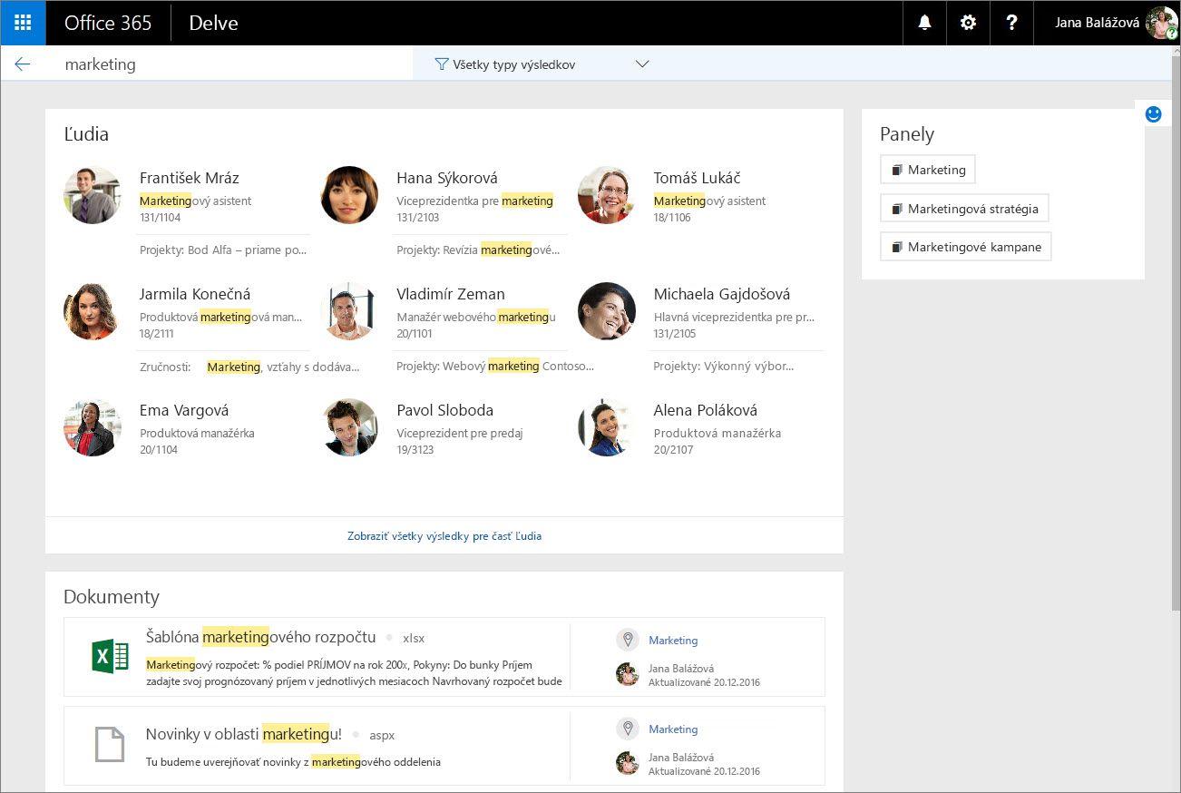 Vyhľadávanie ľudí podľa projektov alebo zručností