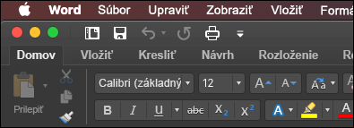 Pás s nástrojmi Wordu pre Mac v režime tmavá