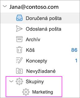 Funkcia Outlook Groups je kdispozícii vOffice 365.