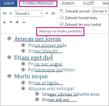 Obrázok zobrazujúci niektoré nástroje prehľadu v ponuke Tvorba prehľadu so vzorovým prehľadom v texte lorem ipsum