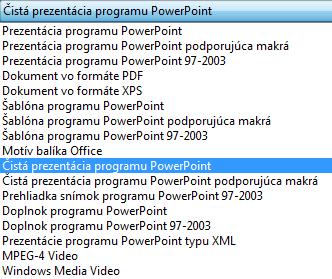 Uložte svoju prezentáciu ako čistú prezentáciu programu PowerPoint.