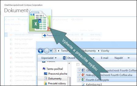 Presuňte myšou na nahratie súborov do služby OneDrive