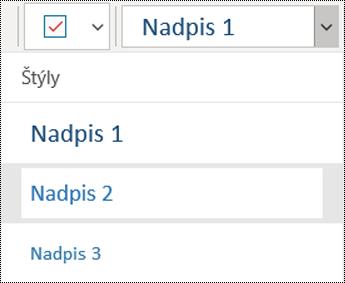 Zoznam nadpisov v aplikácii OneNote pre Windows 10