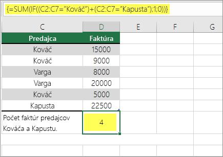 Príklad 1: Funkcie SUM aIF vnorené vo vzorci