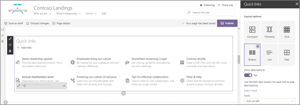 Ukážka vstupu webovej časti rýchle prepojenia pre modernú podnikovú cieľovú lokalitu v SharePointe Online
