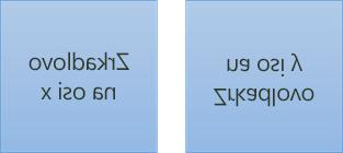 Príklad zrkadlového textu: prvý je otočený o 180 stupňov na osi x a druhý je otočený o 180 stupňov na osi y