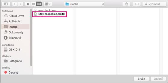 Vyberte e-mailovú šablónu, ktorú chcete použiť