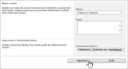 Dialógové okno na vytvorenie tabuľkového hárka na import so zvýraznenou položkou Importovať