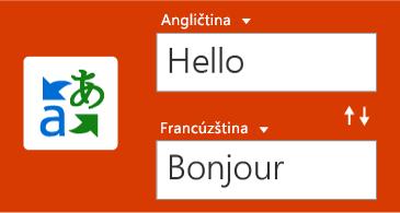 Tlačidlo Prekladač spolu so slovom v angličtine a jeho francúzskym prekladom
