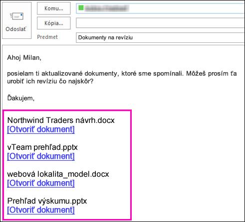 Pridanie prepojení na dokumenty do e-mailu