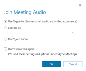 Dialógové okno Pripojenie k zvukovému prenosu zo schôdze v Skype for Business