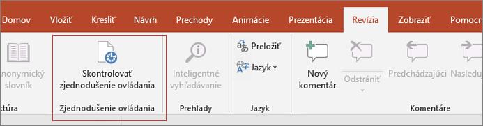 Obrázok obrazovky používateľského rozhrania programu Word so zobrazením revízia > skontrolovať dostupnosť červená rámčeku.