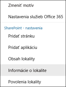 Snímka obrazovky zobrazujúca položku ponuky Informácie o lokalite v SharePointe.