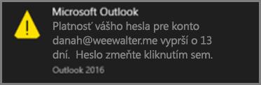 Obrázok oznámenia, ktoré sa zobrazí používateľovi pred uplynutím platnosti hesla.