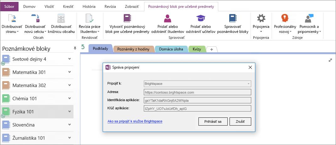 Snímka obrazovky dialógového okna pripojenia Onenotový poznámkový blok add-in s skupinovej politiky zapnuté.