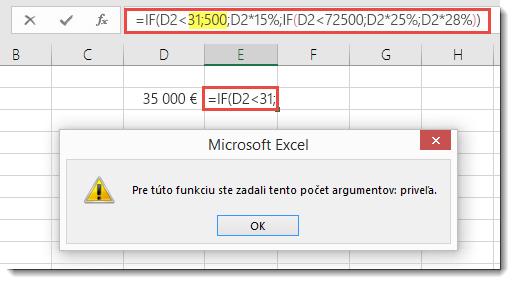 Správa Excelu po pridaní bodkočiarky khodnote