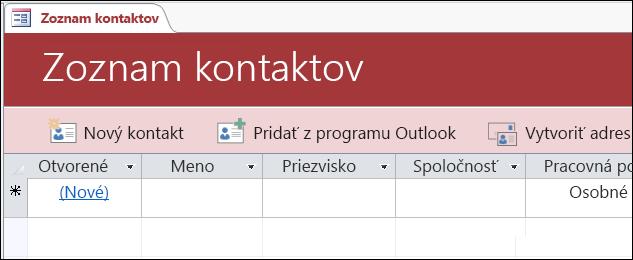 Formulár Zoznam kontaktov v šablóne databázy Access Kontakty