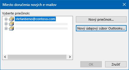 Dialógové okno umiestnenia e-mailu v Outlooku